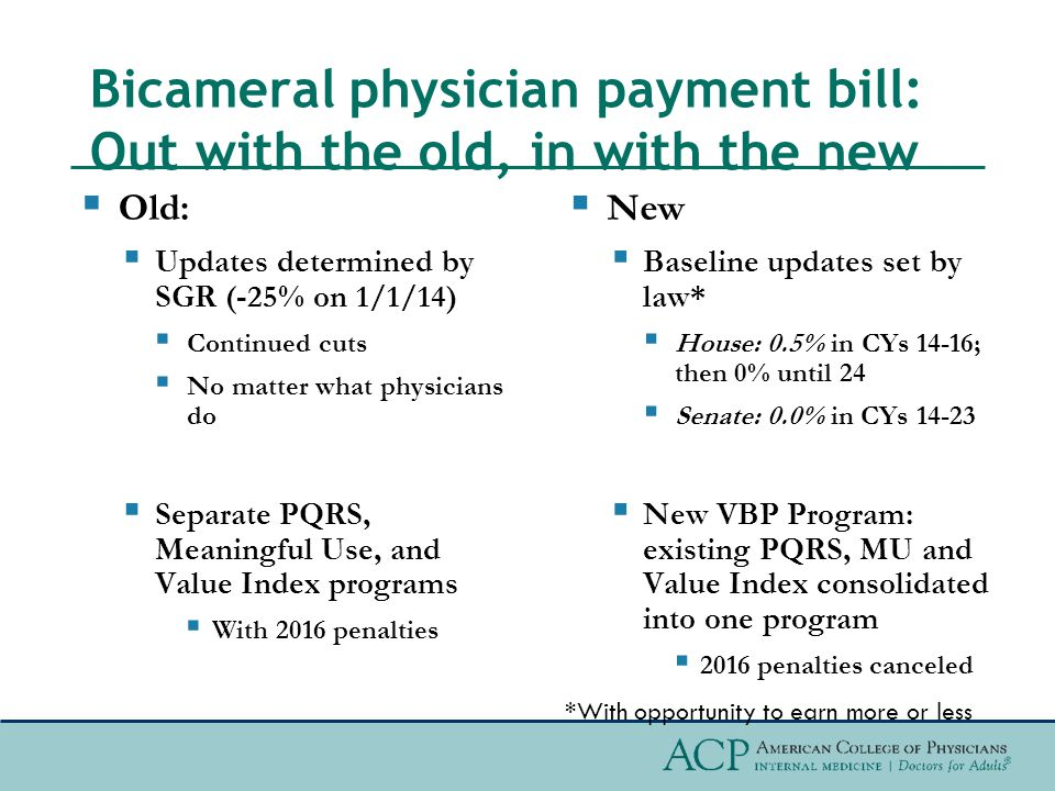 Aligning payments with value  Instead of being determined by the SGR and Medicare Economic Index (inflation), physicians could earn more/less above baseline based on  Participation in a new budget-neutral Value Based Payment (VBP) incentive program  Or participating in an approved Alternative Payment Model (APM)