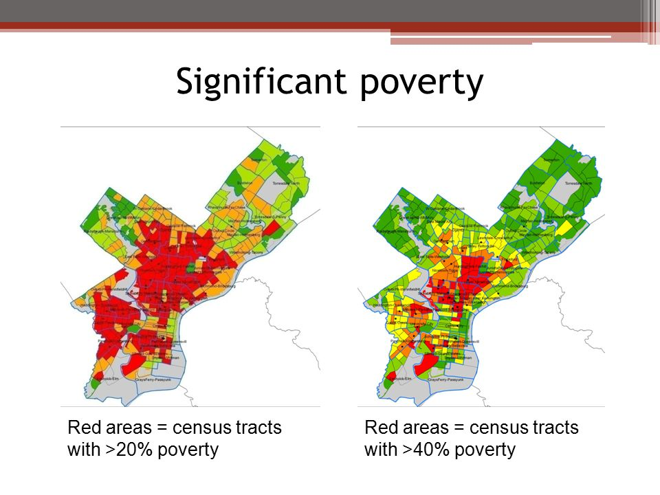 Significant poverty Red areas = census tracts with >20% poverty Red areas = census tracts with >40% poverty