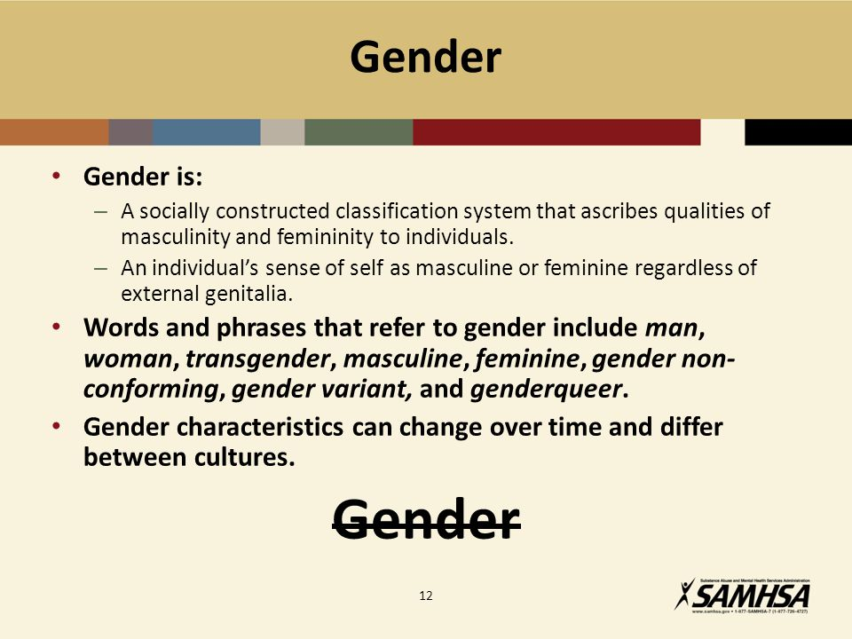 Gender Gender is: – A socially constructed classification system that ascribes qualities of masculinity and femininity to individuals.