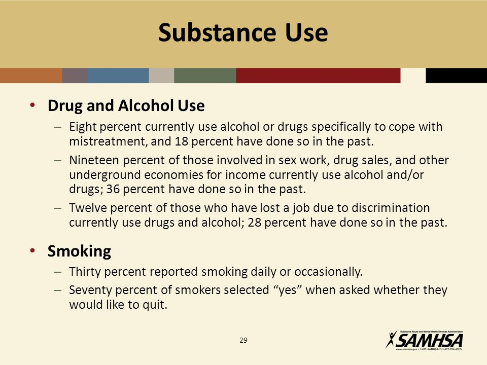 Substance Use Drug and Alcohol Use – Eight percent currently use alcohol or drugs specifically to cope with mistreatment, and 18 percent have done so in the past.