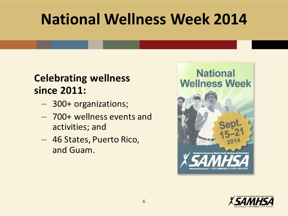 National Wellness Week 2014 Celebrating wellness since 2011: – 300+ organizations; – 700+ wellness events and activities; and – 46 States, Puerto Rico, and Guam.