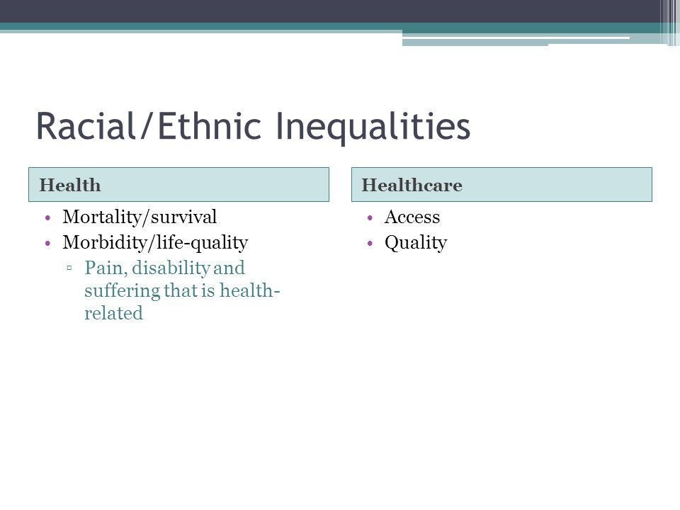 Racial/Ethnic Inequalities HealthHealthcare Mortality/survival Morbidity/life-quality ▫Pain, disability and suffering that is health- related Access Quality