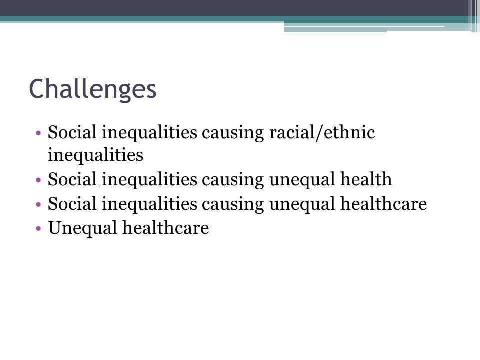 Challenges Social inequalities causing racial/ethnic inequalities Social inequalities causing unequal health Social inequalities causing unequal healt