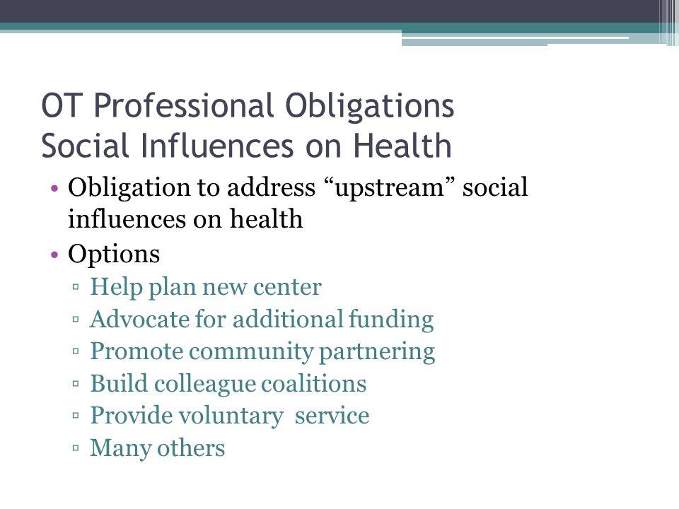 "OT Professional Obligations Social Influences on Health Obligation to address ""upstream"" social influences on health Options ▫Help plan new center ▫Ad"
