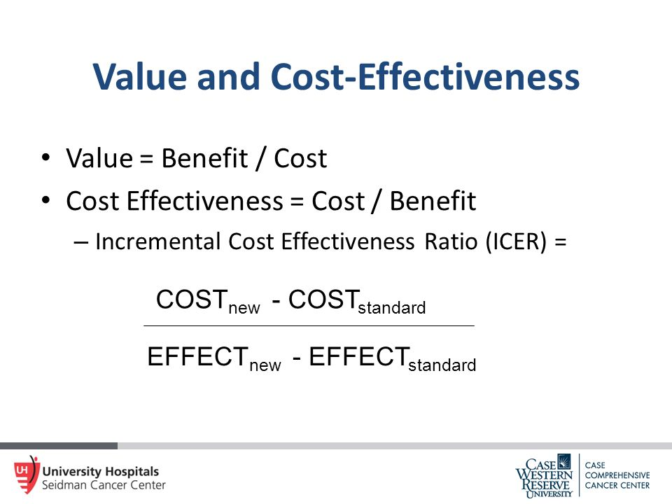 Value and Cost-Effectiveness Value = Benefit / Cost Cost Effectiveness = Cost / Benefit – Incremental Cost Effectiveness Ratio (ICER) = COST new - COS