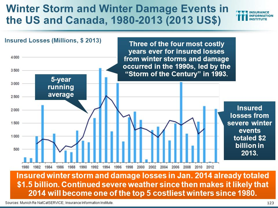 123 Sources: Munich Re NatCatSERVICE; Insurance Information Institute. Winter Storm and Winter Damage Events in the US and Canada, 1980-2013 (2013 US$
