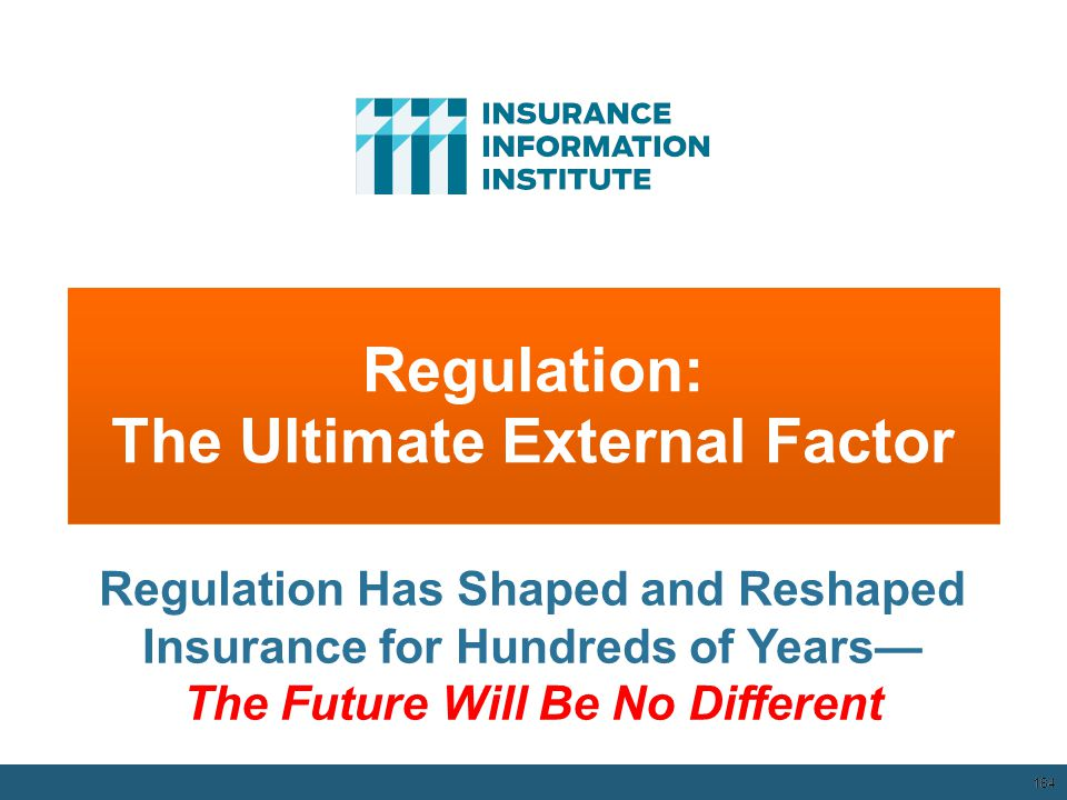 Regulation: The Ultimate External Factor 184 Regulation Has Shaped and Reshaped Insurance for Hundreds of Years— The Future Will Be No Different 12/01
