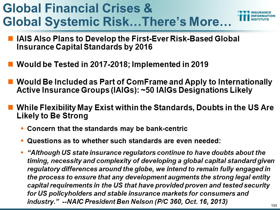 12/01/09 - 9pmeSlide – P6466 – The Financial Crisis and the Future of the P/C 190 Global Financial Crises & Global Systemic Risk…There's More… IAIS Al