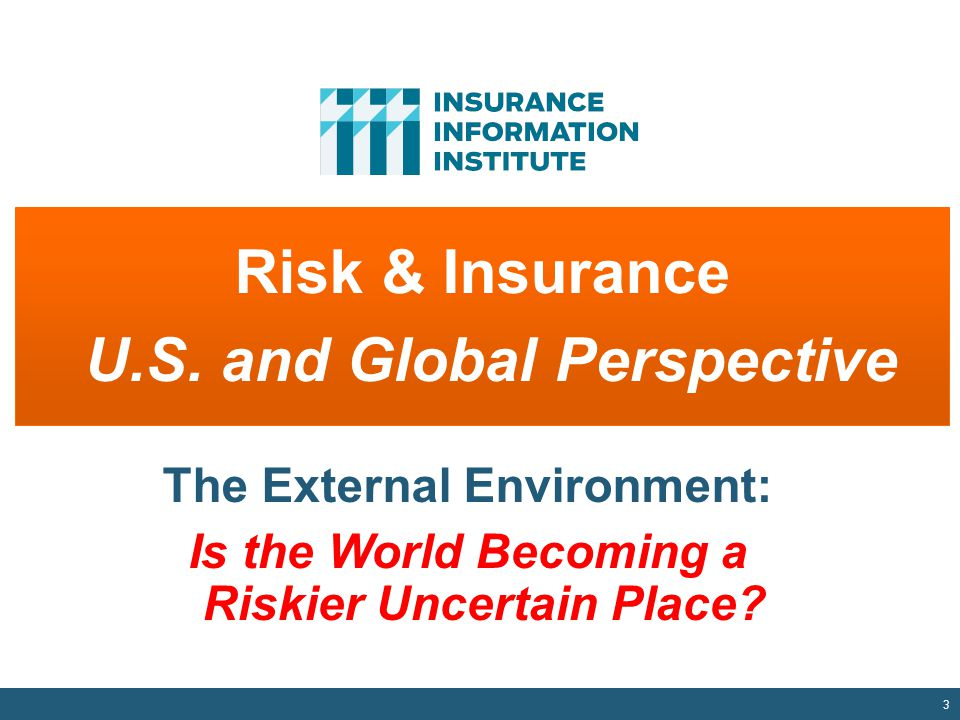 3 Risk & Insurance U.S. and Global Perspective The External Environment: Is the World Becoming a Riskier Uncertain Place?