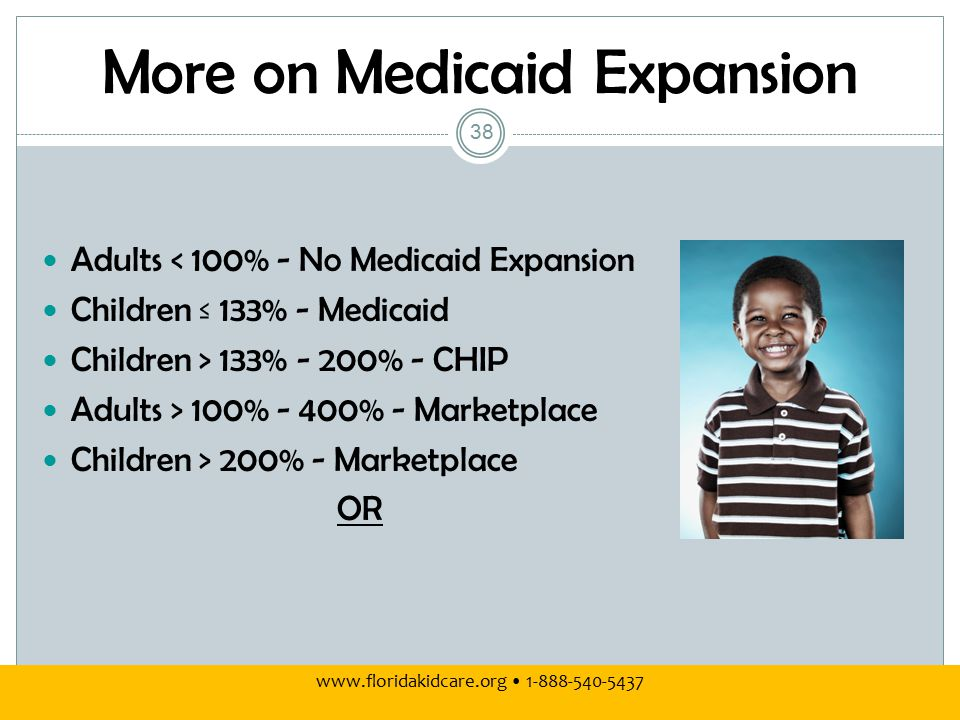 More on Medicaid Expansion Adults < 100% - No Medicaid Expansion Children ≤ 133% - Medicaid Children > 133% - 200% - CHIP Adults > 100% - 400% - Marketplace Children > 200% - Marketplace OR www.floridakidcare.org 1-888-540-5437 38