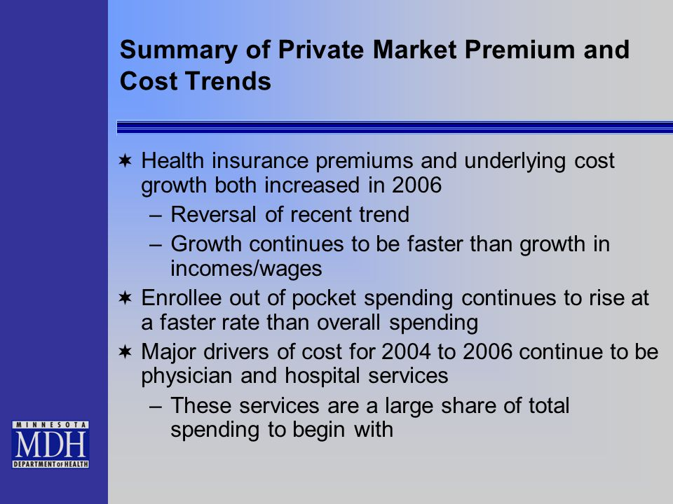 Summary of Private Market Premium and Cost Trends  Health insurance premiums and underlying cost growth both increased in 2006 –Reversal of recent trend –Growth continues to be faster than growth in incomes/wages  Enrollee out of pocket spending continues to rise at a faster rate than overall spending  Major drivers of cost for 2004 to 2006 continue to be physician and hospital services –These services are a large share of total spending to begin with