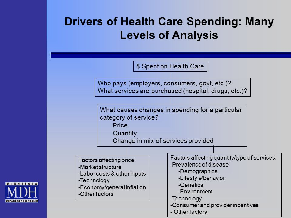 Drivers of Health Care Spending: Many Levels of Analysis $ Spent on Health Care Who pays (employers, consumers, govt, etc.)? What services are purchas