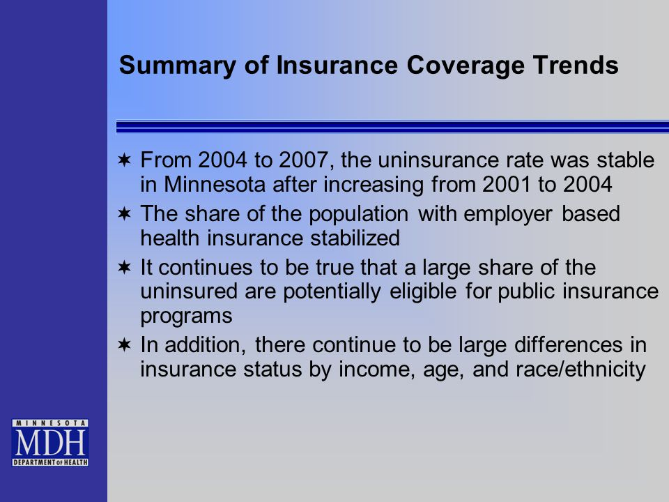 Summary of Insurance Coverage Trends  From 2004 to 2007, the uninsurance rate was stable in Minnesota after increasing from 2001 to 2004  The share of the population with employer based health insurance stabilized  It continues to be true that a large share of the uninsured are potentially eligible for public insurance programs  In addition, there continue to be large differences in insurance status by income, age, and race/ethnicity