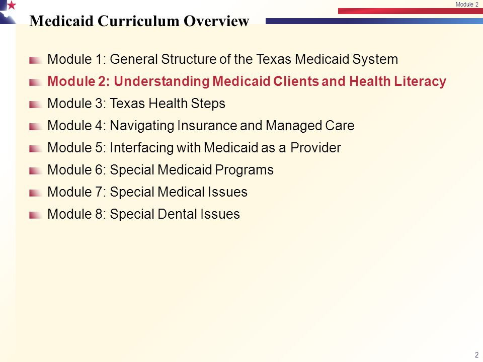 Medicaid Curriculum Overview Module 1: General Structure of the Texas Medicaid System Module 2: Understanding Medicaid Clients and Health Literacy Module 3: Texas Health Steps Module 4: Navigating Insurance and Managed Care Module 5: Interfacing with Medicaid as a Provider Module 6: Special Medicaid Programs Module 7: Special Medical Issues Module 8: Special Dental Issues 2 Module 2