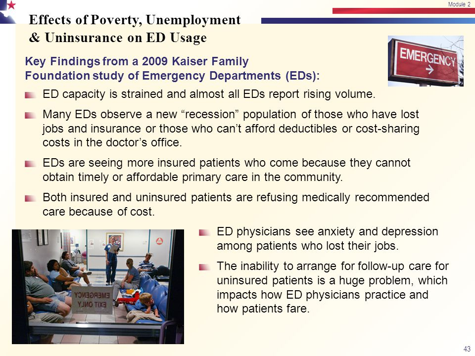 Effects of Poverty, Unemployment & Uninsurance on ED Usage Key Findings from a 2009 Kaiser Family Foundation study of Emergency Departments (EDs): ED capacity is strained and almost all EDs report rising volume.