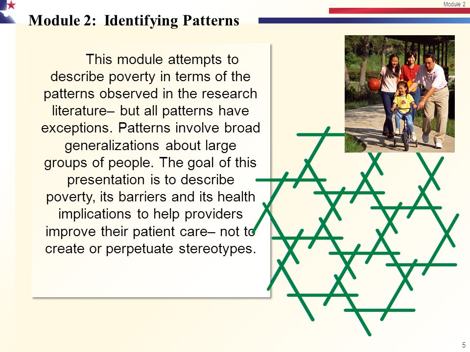 Module 2: Identifying Patterns This module attempts to describe poverty in terms of the patterns observed in the research literature– but all patterns have exceptions.