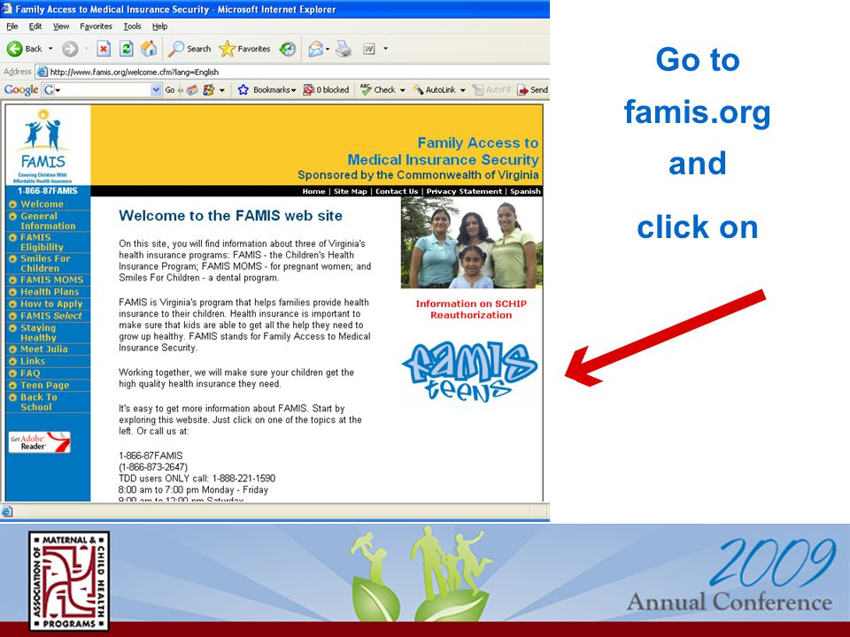 Go to famis.org and click on