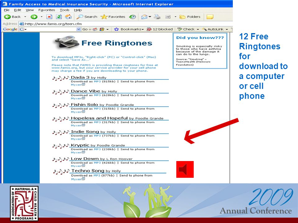 12 Free Ringtones for download to a computer or cell phone