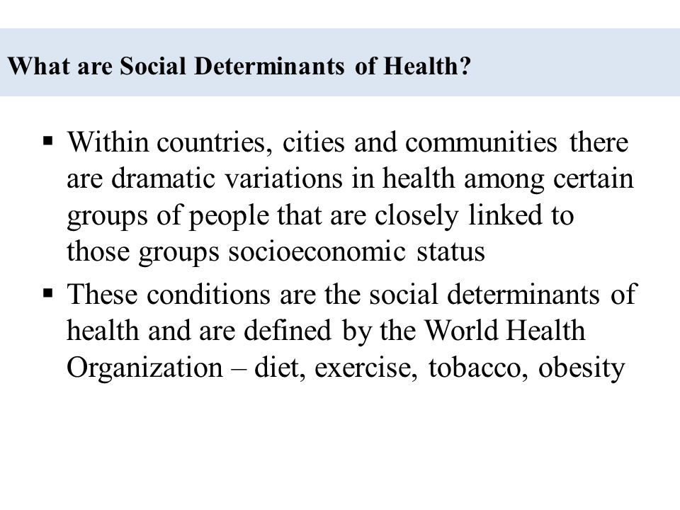  Access to Health Care  Poverty  Education  Work  Leisure – diet/exercise  Tobacco  Obesity  Living conditions/environments  Environmental toxins Social Determinants