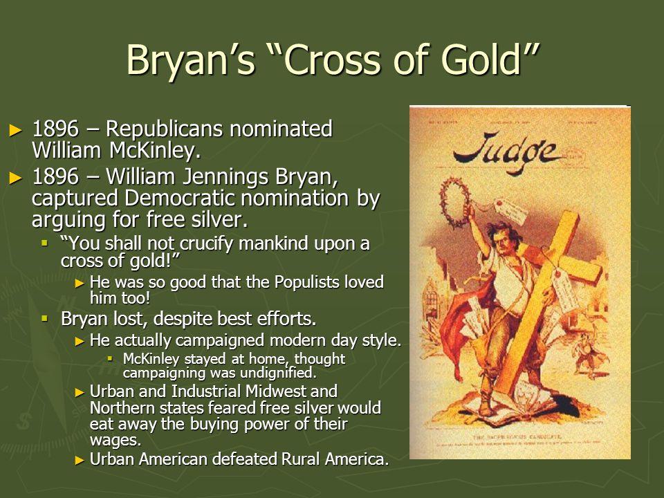 Bryan's Cross of Gold ► 1896 – Republicans nominated William McKinley.