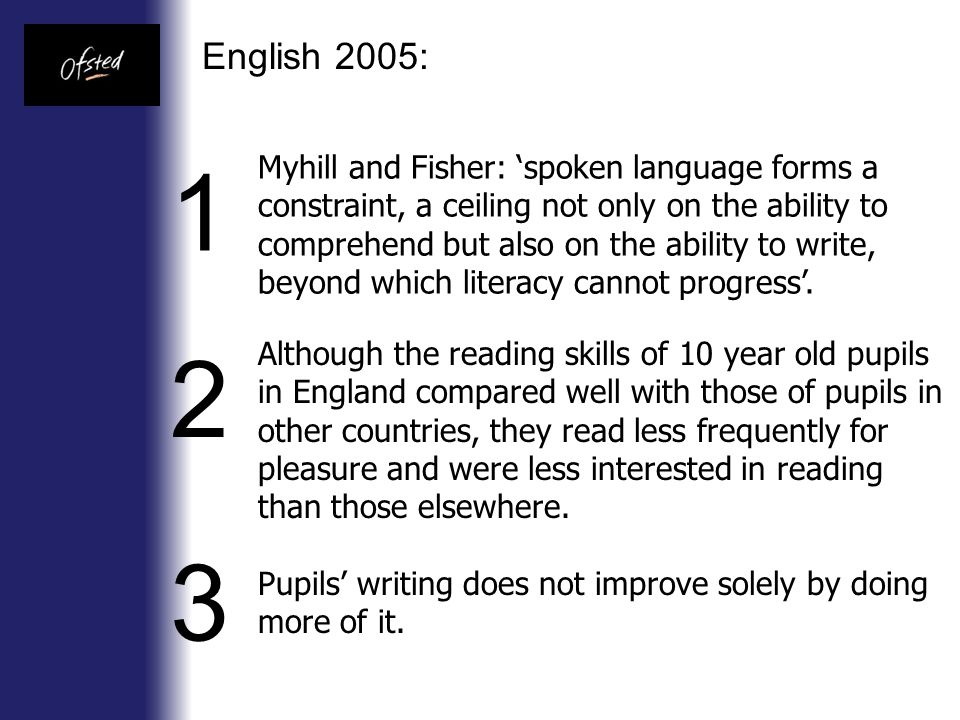 English 2005: Myhill and Fisher: 'spoken language forms a constraint, a ceiling not only on the ability to comprehend but also on the ability to write, beyond which literacy cannot progress'.