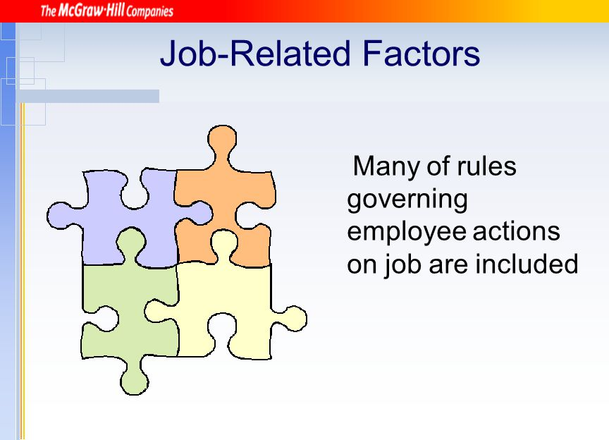 Job-Related Factors Many of rules governing employee actions on job are included