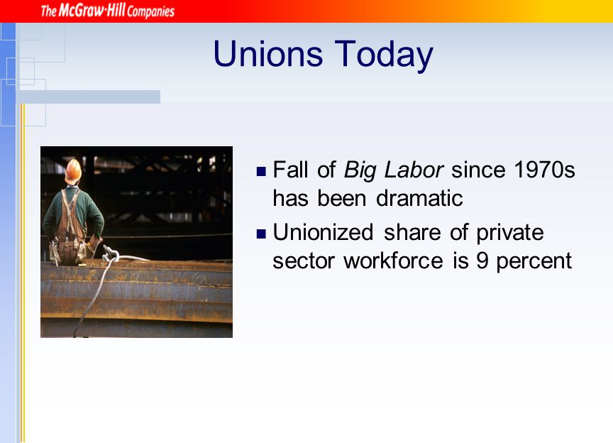 Bargaining Items Mandatory Rates of pay Wages Hours of employment Overtime pay Shift differentials Holidays Vacations Severance pay Pensions Insurance benefits Profit-sharing plans Christmas bonuses Company housing, meals, and discounts Employee security Job performance Union security Management–union relationship Drug testing of employees Permissible Indemnity bonds Management rights as to union affairs Pension benefits of retired employees Scope of the bargaining unit Including supervisors in the contract Additional parties to the contract such as the international union Use of union label Settlement of unfair labor changes Prices in cafeteria Continuance of past contract Membership of bargaining team Employment of strike breakers Illegal Closed shop Separation of employees based on race Discriminatory treatment Source: Michael B.