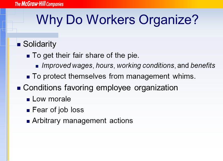 Why Do Workers Organize? Solidarity To get their fair share of the pie. Improved wages, hours, working conditions, and benefits To protect themselves