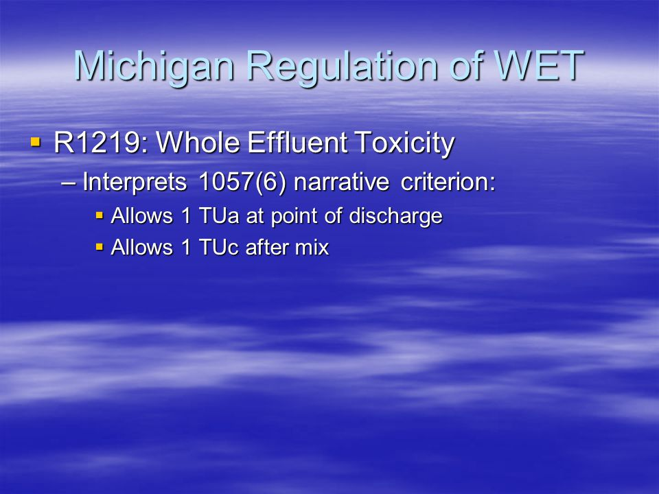 R1219: Whole Effluent Toxicity –Interprets 1057(6) narrative criterion:  Allows 1 TUa at point of discharge  Allows 1 TUc after mix Michigan Regul
