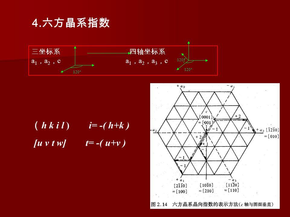 4. 六方晶系指数 三坐标系 四轴坐标系 a 1 , a 2 , c a 1 , a 2 , a 3 , c 120 ° ( h k i l ) i= -( h+k ) [u v t w] t= -( u+v )