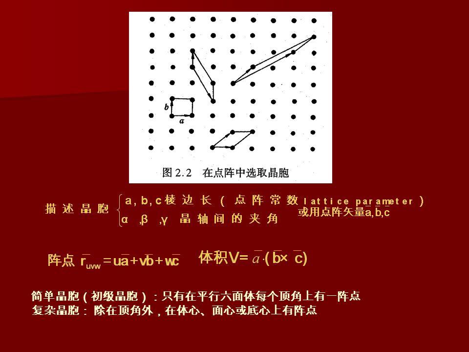 简单晶胞(初级晶胞):只有在平行六面体每个顶角上有一阵点 复杂晶胞: 除在顶角外,在体心、面心或底心上有阵点