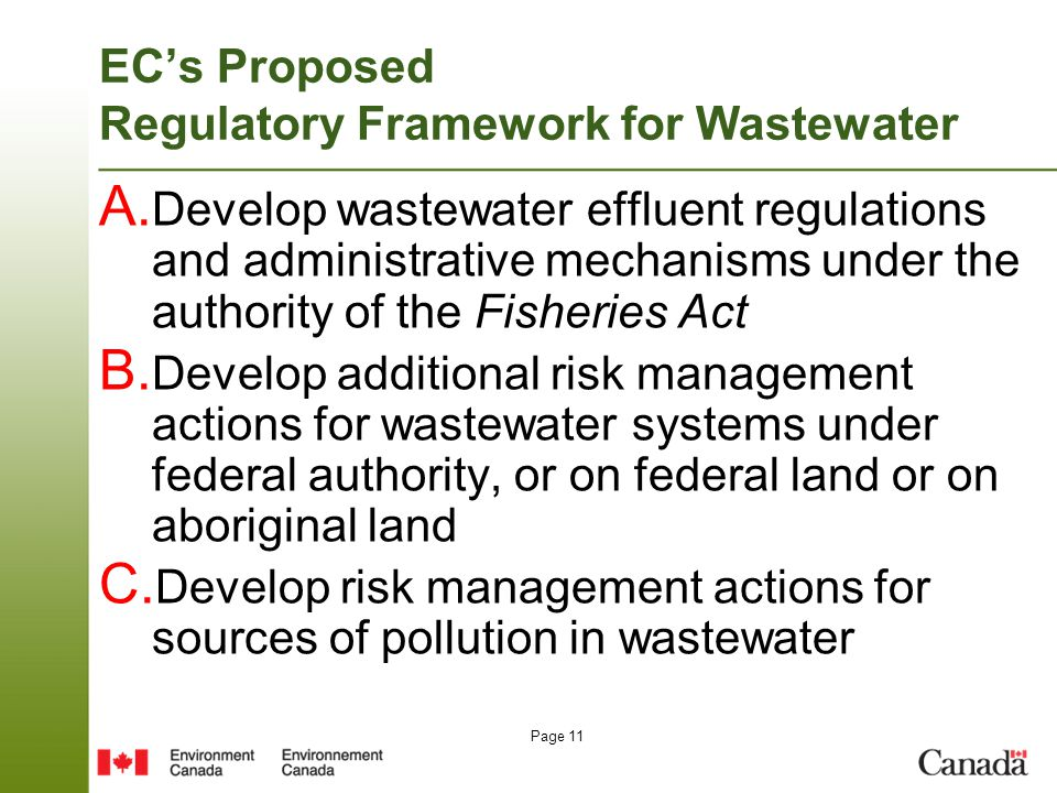 Page 11 EC's Proposed Regulatory Framework for Wastewater A.