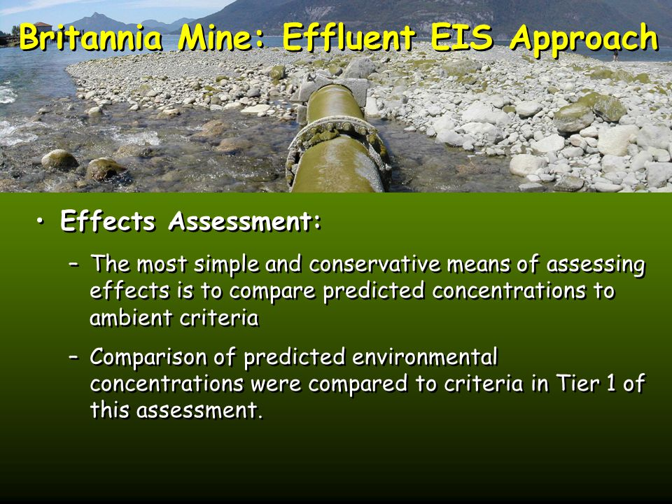Britannia Mine: Effluent EIS Approach Effects Assessment: –The most simple and conservative means of assessing effects is to compare predicted concentrations to ambient criteria –Comparison of predicted environmental concentrations were compared to criteria in Tier 1 of this assessment.