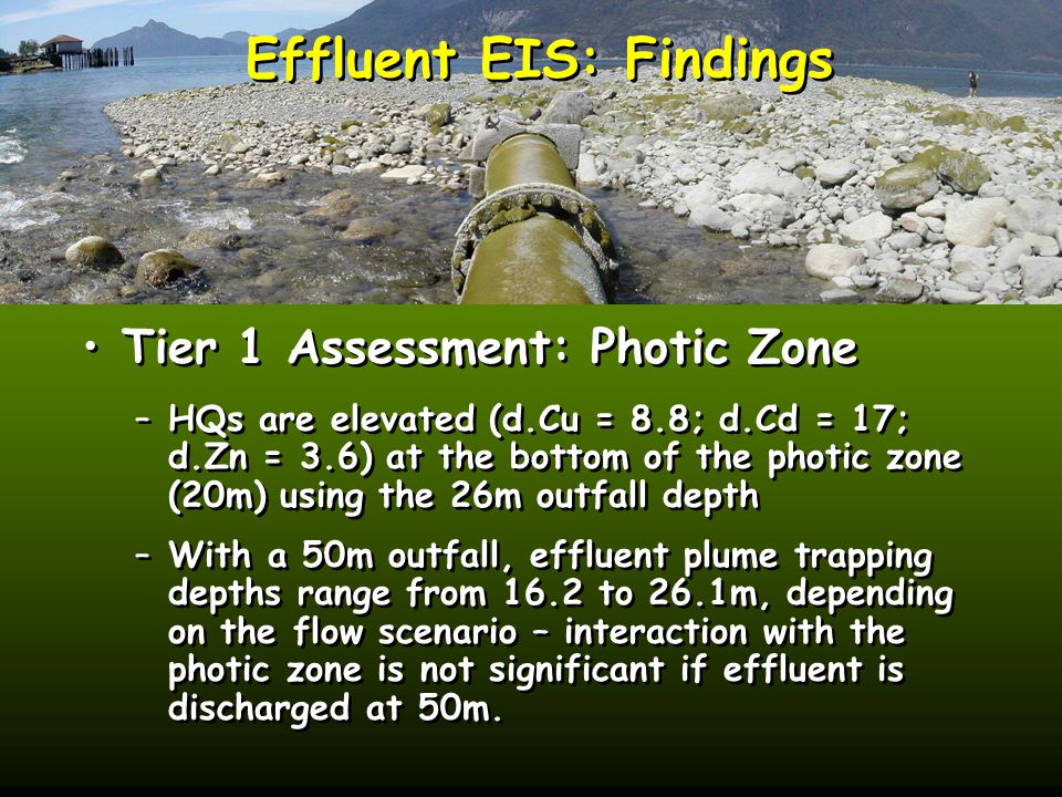 Effluent EIS: Findings Tier 1 Assessment: Photic Zone –HQs are elevated (d.Cu = 8.8; d.Cd = 17; d.Zn = 3.6) at the bottom of the photic zone (20m) using the 26m outfall depth –With a 50m outfall, effluent plume trapping depths range from 16.2 to 26.1m, depending on the flow scenario – interaction with the photic zone is not significant if effluent is discharged at 50m.