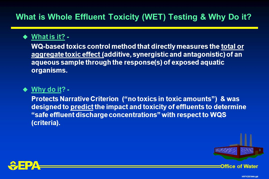 Office of Water NRFK2001Intro.ppt What is Whole Effluent Toxicity (WET) Testing & Why Do it.