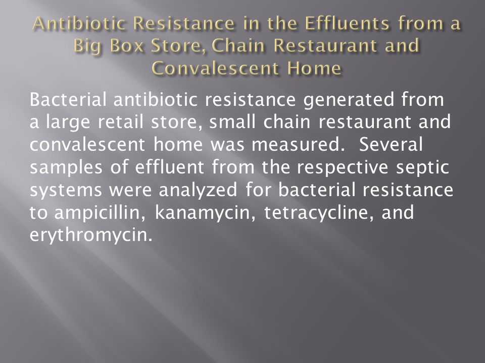 Bacterial antibiotic resistance generated from a large retail store, small chain restaurant and convalescent home was measured.