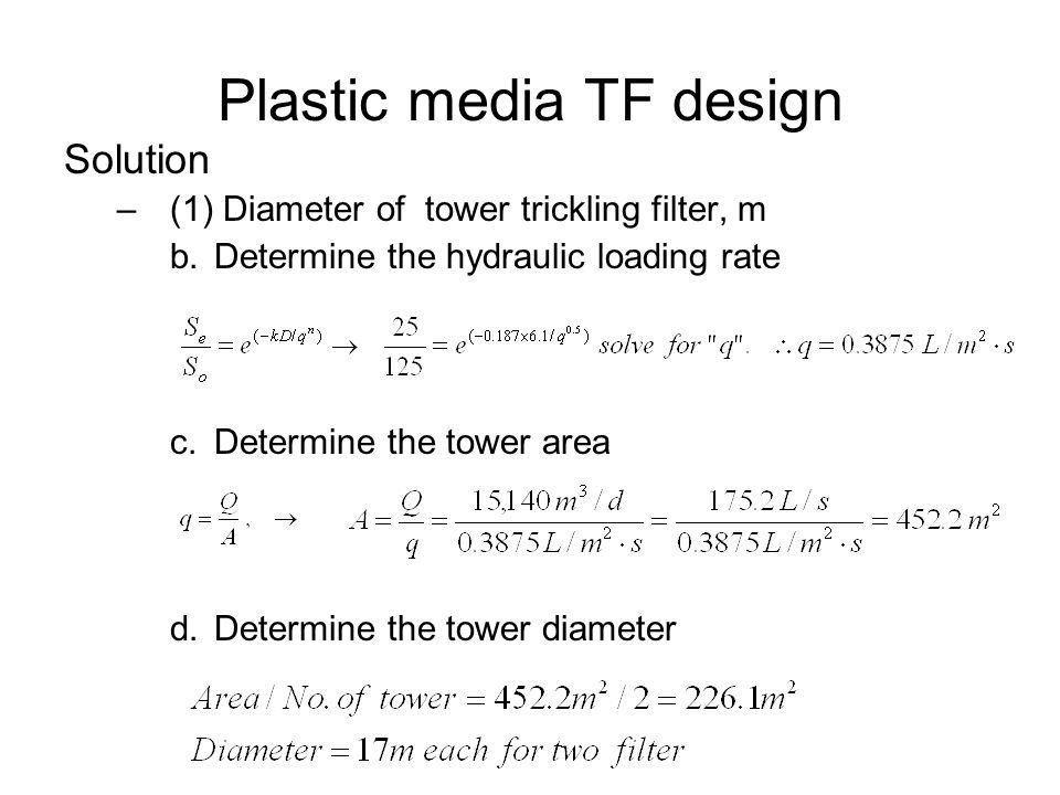 Plastic media TF design Solution –(1) Diameter of tower trickling filter, m b.Determine the hydraulic loading rate c.Determine the tower area d.Determ