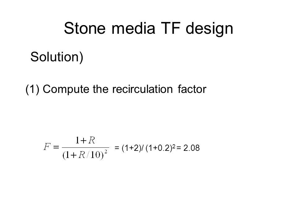 Stone media TF design Solution) (1) Compute the recirculation factor = (1+2)/ (1+0.2) 2 = 2.08