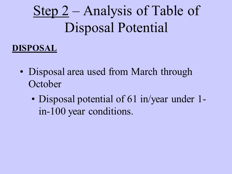 Step 2 – Analysis of Table of Disposal Potential DISPOSAL Disposal area used from March through October Disposal potential of 61 in/year under 1- in-100 year conditions.
