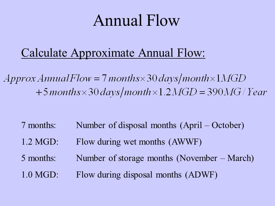 Annual Flow Calculate Approximate Annual Flow: 7 months:Number of disposal months (April – October) 1.2 MGD:Flow during wet months (AWWF) 5 months:Number of storage months (November – March) 1.0 MGD:Flow during disposal months (ADWF)