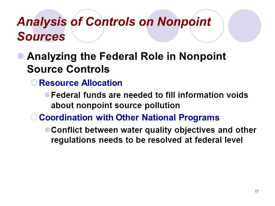17 Analysis of Controls on Nonpoint Sources Analyzing the Federal Role in Nonpoint Source Controls  Resource Allocation Federal funds are needed to fill information voids about nonpoint source pollution  Coordination with Other National Programs Conflict between water quality objectives and other regulations needs to be resolved at federal level