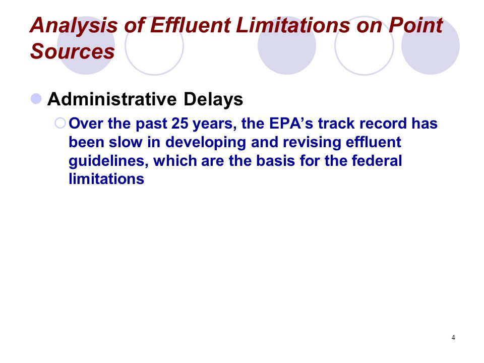 4 Analysis of Effluent Limitations on Point Sources Administrative Delays  Over the past 25 years, the EPA's track record has been slow in developing and revising effluent guidelines, which are the basis for the federal limitations