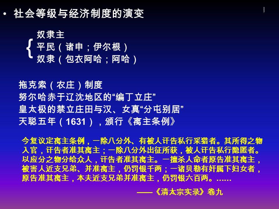 社会等级与经济制度的演变社会等级与经济制度的演变 社会等级与经济制度的演变 奴隶主 平民(诸申;伊尔根) 奴隶(包衣阿哈;阿哈) 拖克索(农庄)制度 努尔哈赤于辽沈地区的 编丁立庄 皇太极的禁立庄田与汉、女真 分屯别居 天聪五年( 1631 ),颁行《离主条例》 { 今复议定离主条例,一除八分外、有被人讦告私行采猎者。其所得之物 入官,讦告者准其离主;一除八分外出征所获,被人讦告私行隐匿者。 以应分之物分给众人,讦告者准其离主。一擅杀人命者原告准其离主, 被害人近支兄弟、并准离主,仍罚银千两;一诸贝勒有奸属下妇女者, 原告准其离主,本夫近支兄弟并准离主,仍罚银六百两。 …… —— 《清太宗实录》卷九
