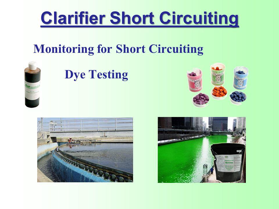 Clarifier Short Circuiting Monitoring for Short Circuiting Dye Testing