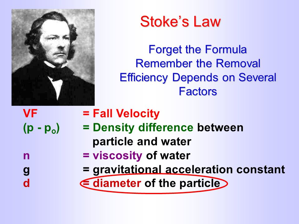 Stoke's Law VF= Fall Velocity (p - p o )= Density difference between particle and water n= viscosity of water g= gravitational acceleration constant d