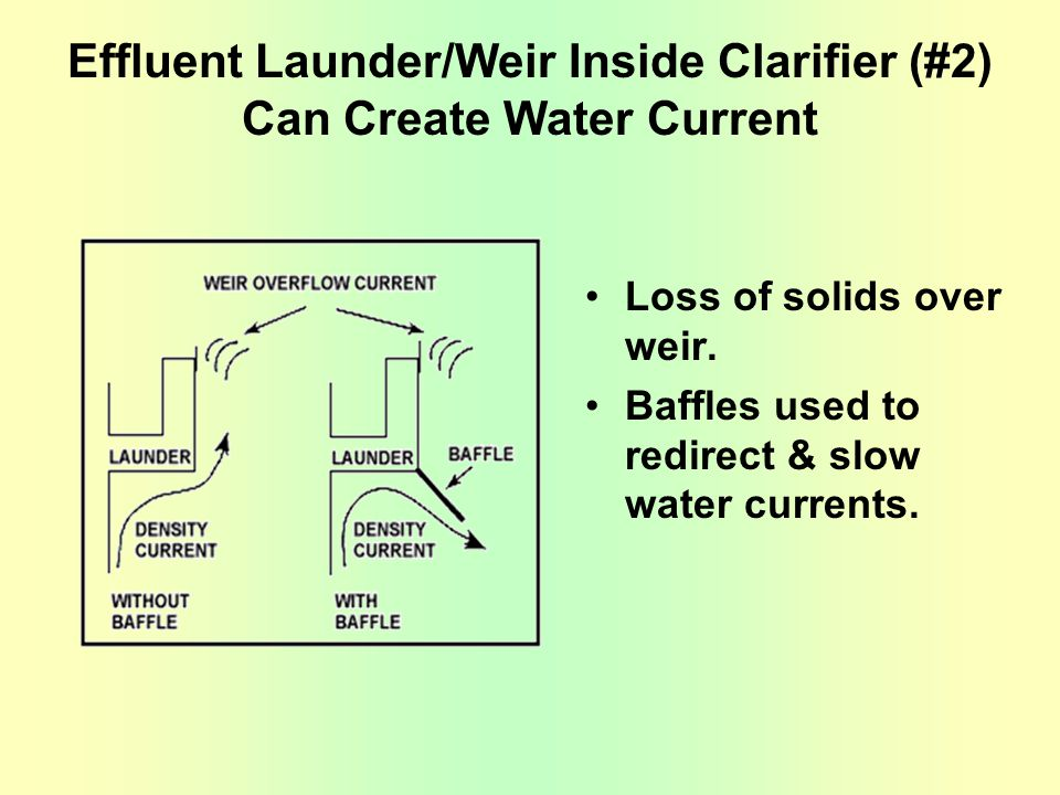 Effluent Launder/Weir Inside Clarifier (#2) Can Create Water Current Loss of solids over weir. Baffles used to redirect & slow water currents.