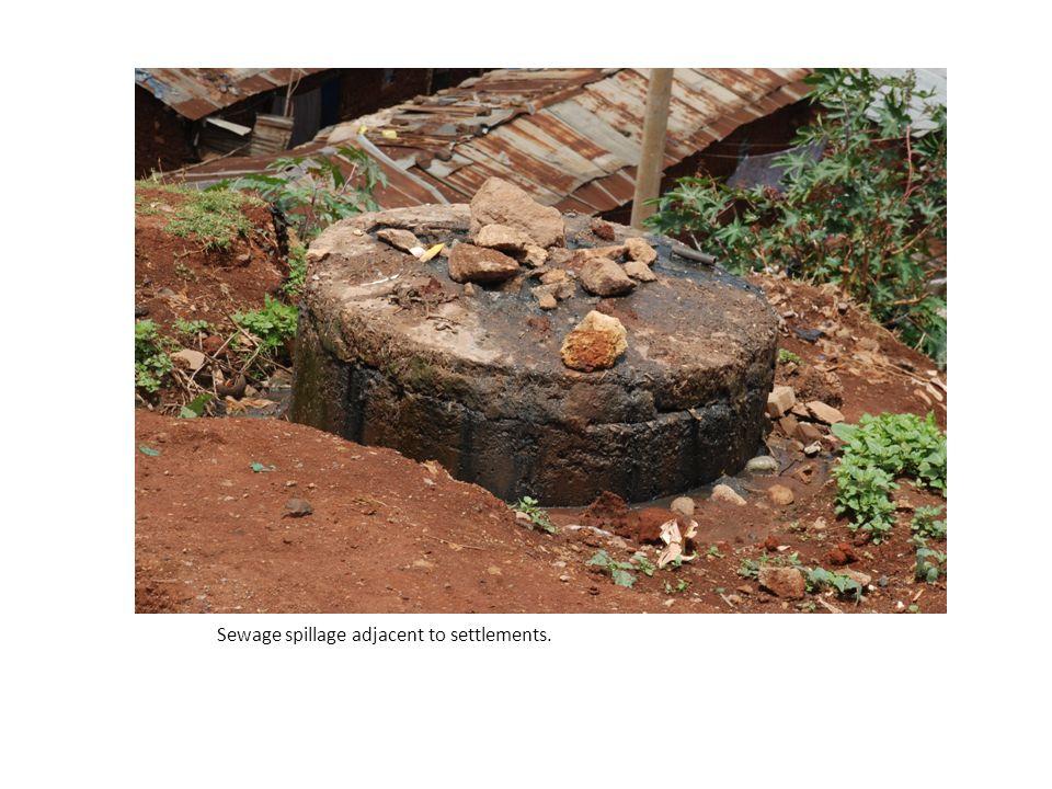 Sewage spillage adjacent to settlements.