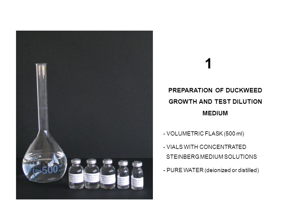 PREPARATION OF DUCKWEED GROWTH AND TEST DILUTION MEDIUM - VOLUMETRIC FLASK (500 ml) - VIALS WITH CONCENTRATED STEINBERG MEDIUM SOLUTIONS - PURE WATER