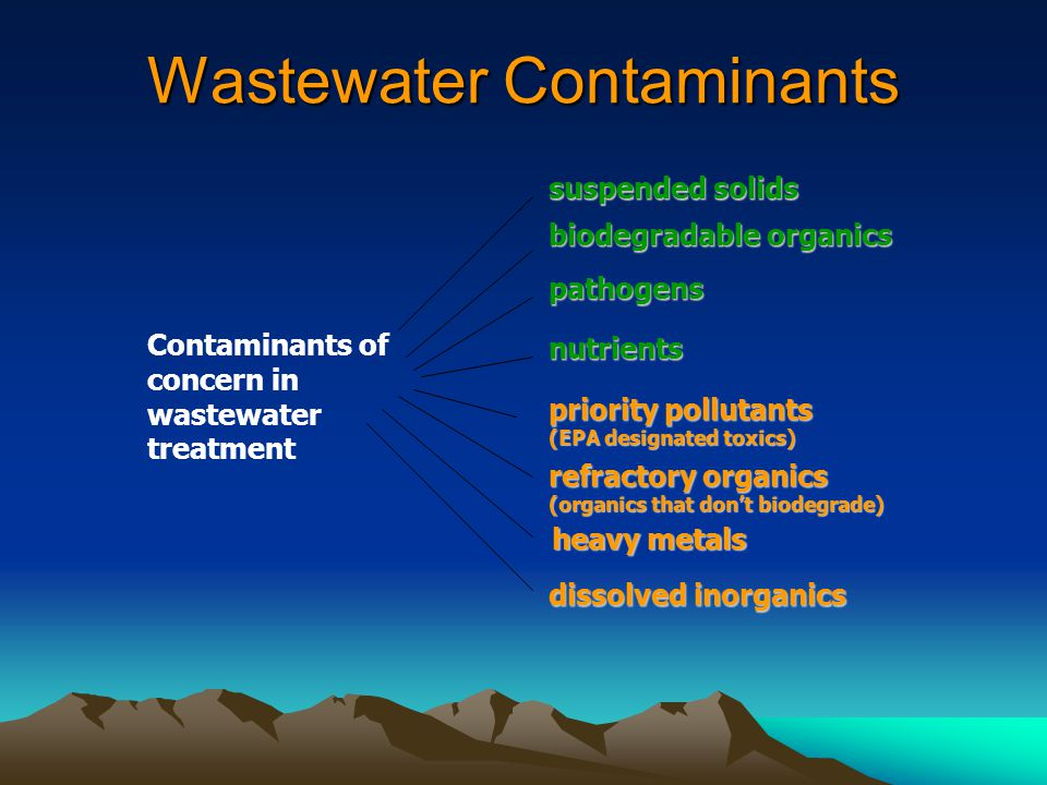 Wastewater Contaminants Contaminants of concern in wastewater treatment suspended solids biodegradable organics pathogens nutrients priority pollutants (EPA designated toxics) refractory organics (organics that don't biodegrade) heavy metals dissolved inorganics