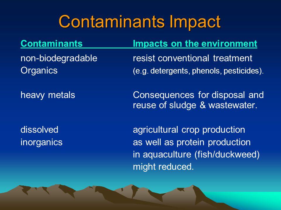 Contaminants Impact Contaminants Impacts on the environment non-biodegradable resist conventional treatment Organics (e.g. detergents, phenols, pestic
